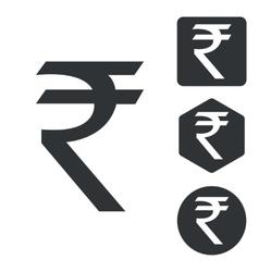 Indian rupee icon set monochrome vector