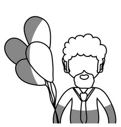 Line man with beard and balloons in the hand vector