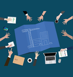 Manage company development or build a startup vector