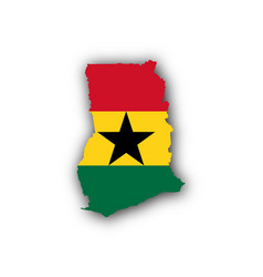 Map and flag of ghana vector