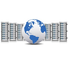 Network Servers with Globe vector image