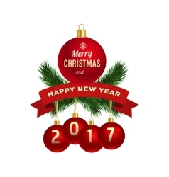 New Year greeting card logo vector image vector image