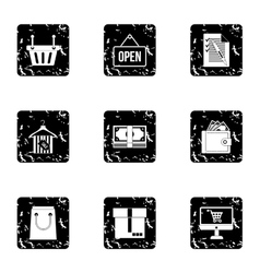 Online purchase icons set grunge style vector