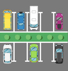 parking lot poster with top view cars vector image vector image
