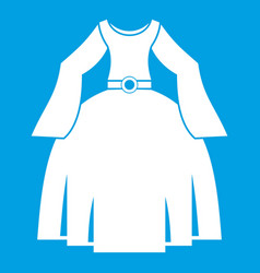 Princess dress icon white vector