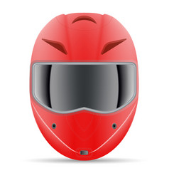Red motorcycle helmet front view isolated on a vector