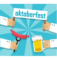sausages beer and oktoberfest vector image