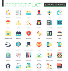 Set of flat banking finance icons vector