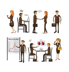set of office people characters isolated on vector image