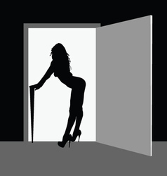 sexy and beauty girl front the door vector image vector image