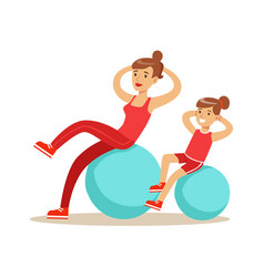 Smiling woman and girl happily exercising with vector