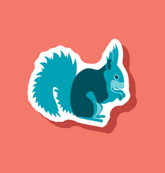 squirrel paper sticker on stylish background vector image