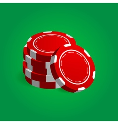 Stack red poker casino chips vector