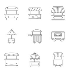 street food truck icon set outline style vector image