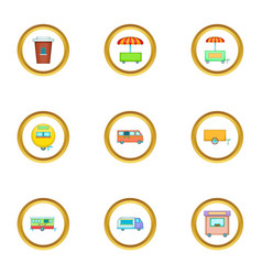 street food truck icons set cartoon style vector image vector image