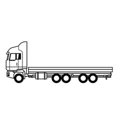 Truck cabin trailer transport wheels motor vector