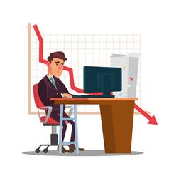 Unhappy trader man trader desk in trader vector