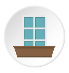 White window and flower box icon circle vector