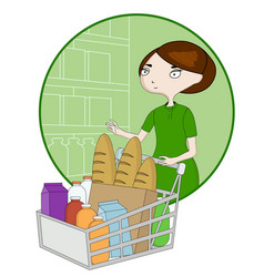woman cartoon with a basket in a supermarket vector image vector image