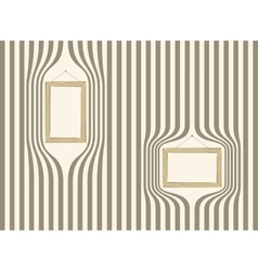 Wooden frame on striped wallpaper vector image vector image