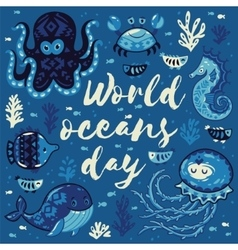 World oceans day card with cute animals in vector