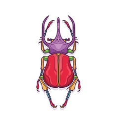 Colorful big horn beetle bug insect vector