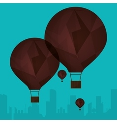 collection brown airballoons fyling silhouette vector image
