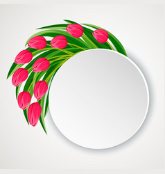 Spring round frame with blooming tulip vector