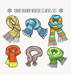 Woolen fashion winter knitted scarf set vector
