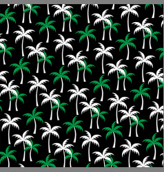 White green palm trees on black vector