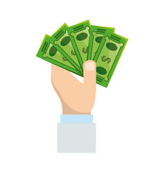 Isolated hand taking money vector