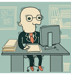 Businessman working in an office vector image