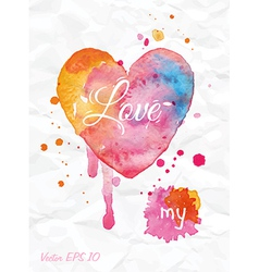 Watercolor valentines day heart vector