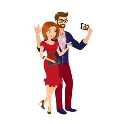 Cheery handsome man and woman in red dress are vector