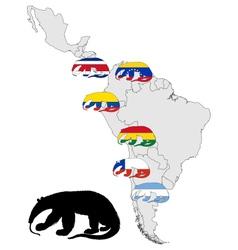 Giant anteater range America vector image