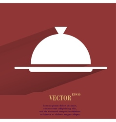 Restaurant cloche flat modern web button with long vector