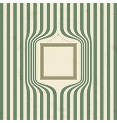 Wooden frame on striped wallpaper vector