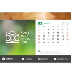 Desk calendar 2016 design template week starts vector