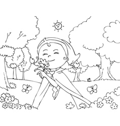 Coloring red riding hood with flowers vector