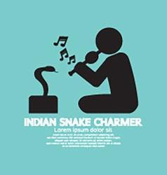Black symbol indian snake charmer vector