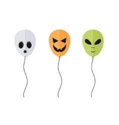 Flat halloween balloon set vector