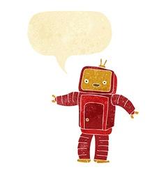 cartoon robot with speech bubble vector image
