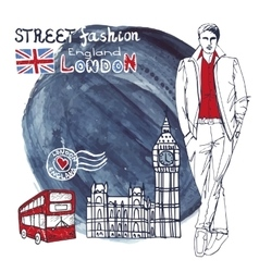 London dude menwatercolor splash background vector