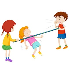 Children walking under the stick vector