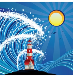 Lighthouse in the sea3 vector
