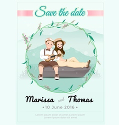 Wedding card with nature and green theme vector