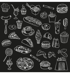 Doodle icon fast food vector image
