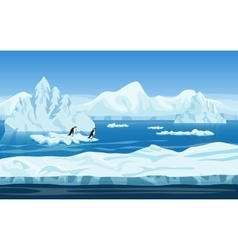 Cartoon nature winter arctic ice landscape with vector