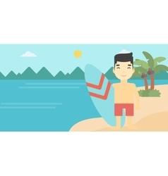 Surfer holding surfboard vector