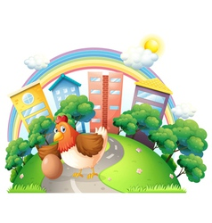 A hen and her egg at the road vector image